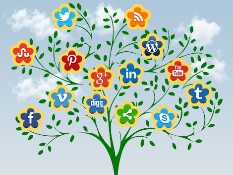 Social Icon Flowering Tree