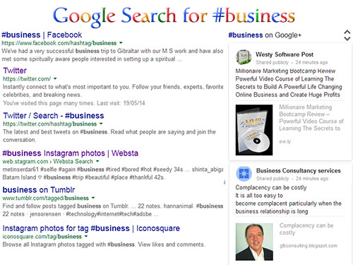 Use hashtags appear in Google Search Results for #business