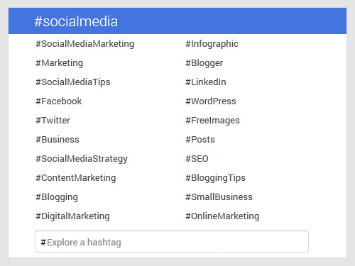use hashtags - appear in gplus hashtag search for #socialmedia