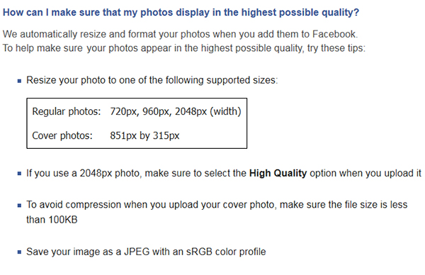 Facebook Image Sizes for quality