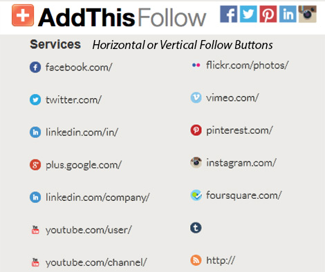 Social Media Follow Buttons by AddThis