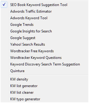SEOBook Keyword Tools Dropdown Menu