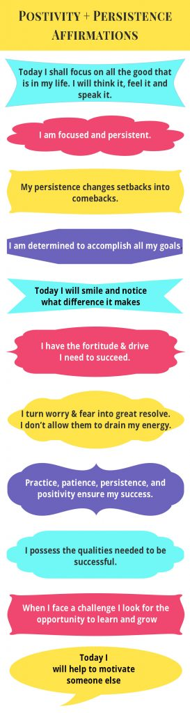 Purpose. Positivity. Persistence Affirmations Infographic