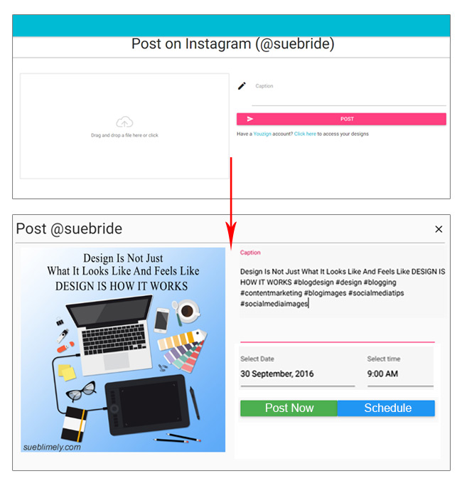 Instamate Instagram for web - Post or Schedule